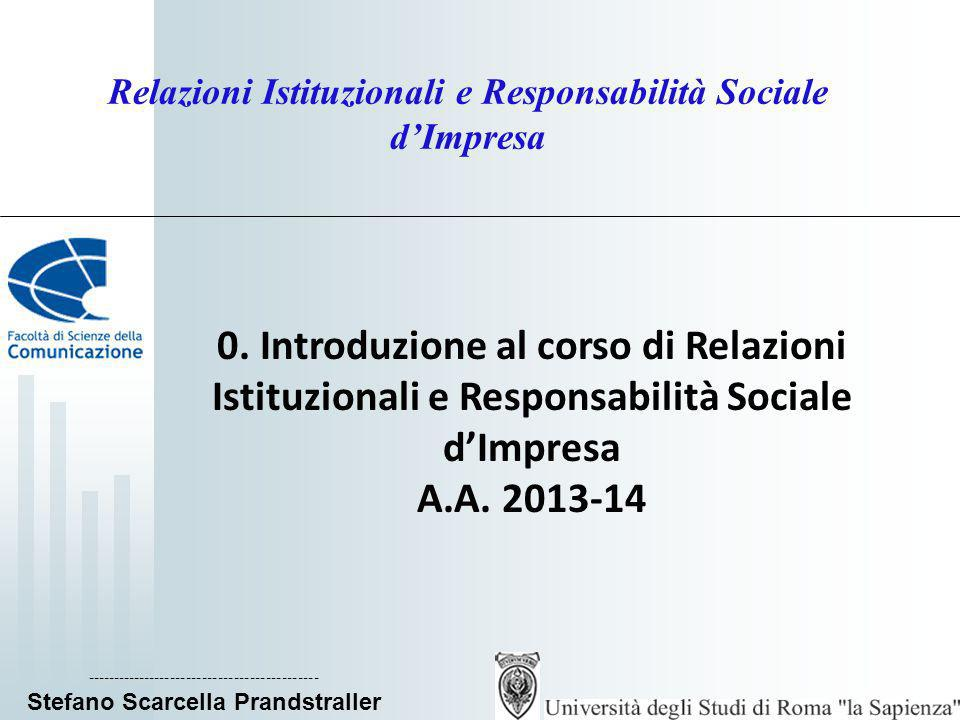 ____________________________ Stefano Scarcella Prandstraller Relazioni istituzionali e Gestione della responsabilità sociale dimpresa La CSR in una prospettiva sociologico- relazionale La CSR è una forma di corporate Governance non allargata (termine quantitativo in riferimento al numero di attori), ma evoluta (qualitativo, in riferimento a valori e norme), in cui limpresa, andando al di là di un comportamento razionale di impiego delle risorse per ottenere un profitto, eccede sé stessa per includere e fare proprie una pluralità di istanze, da riconoscersi come legittime sulla base dei valori del sistema culturale e delle norme del sistema sociale