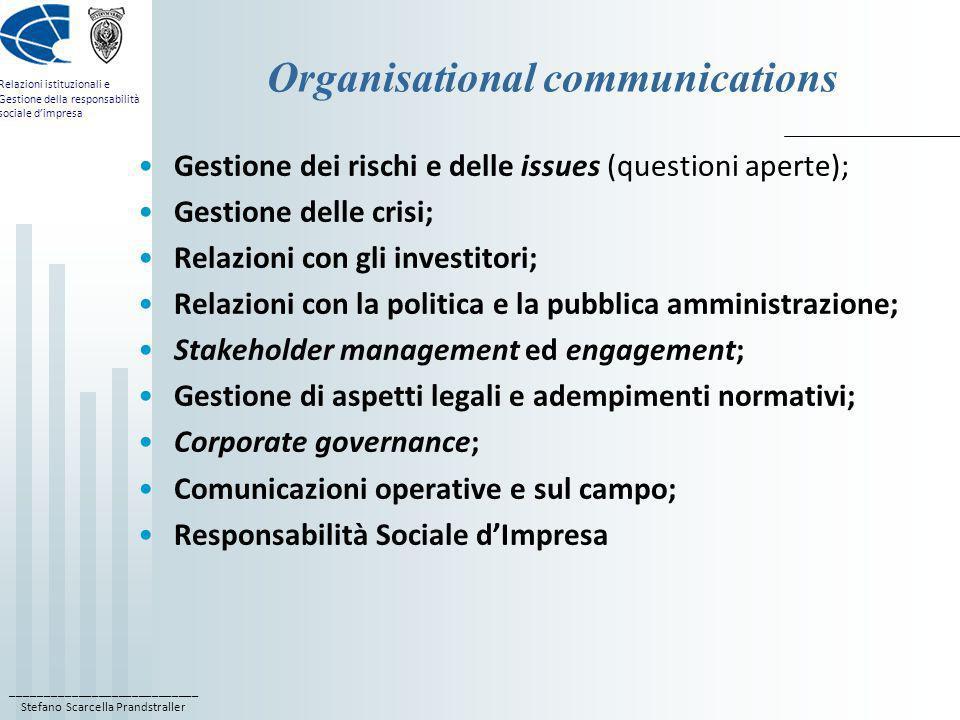 ____________________________ Stefano Scarcella Prandstraller Relazioni istituzionali e Gestione della responsabilità sociale dimpresa Organisational c