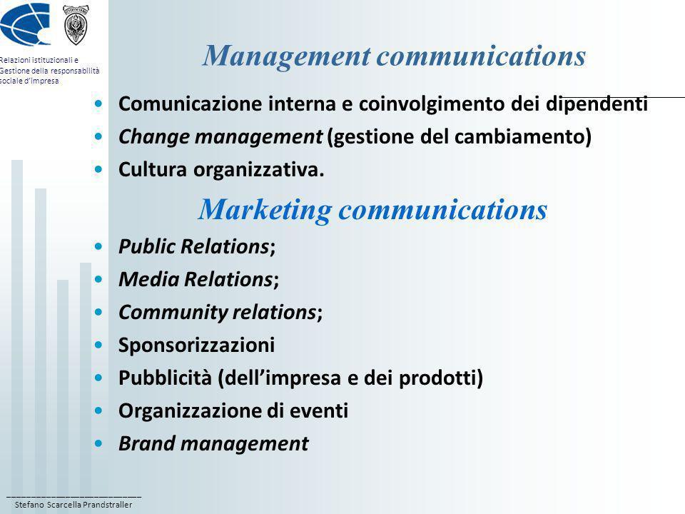 ____________________________ Stefano Scarcella Prandstraller Relazioni istituzionali e Gestione della responsabilità sociale dimpresa Management commu