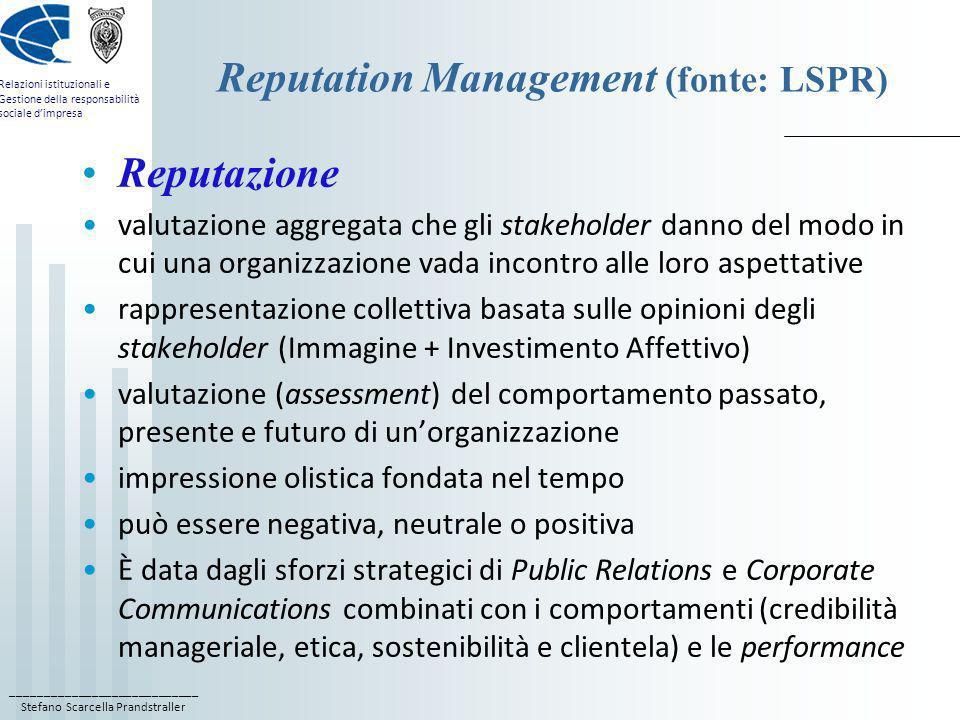 ____________________________ Stefano Scarcella Prandstraller Relazioni istituzionali e Gestione della responsabilità sociale dimpresa Reputation Manag