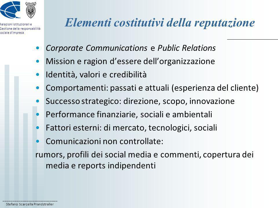 ____________________________ Stefano Scarcella Prandstraller Relazioni istituzionali e Gestione della responsabilità sociale dimpresa Elementi costitu