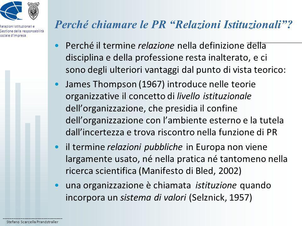____________________________ Stefano Scarcella Prandstraller Relazioni istituzionali e Gestione della responsabilità sociale dimpresa Perché chiamare