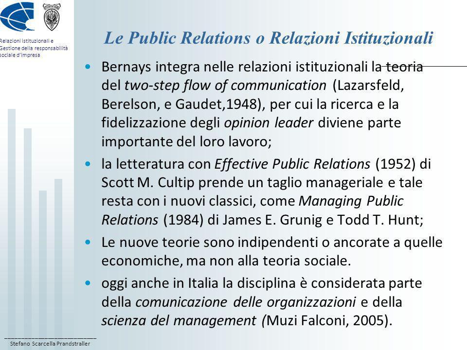 ____________________________ Stefano Scarcella Prandstraller Relazioni istituzionali e Gestione della responsabilità sociale dimpresa Le Public Relati