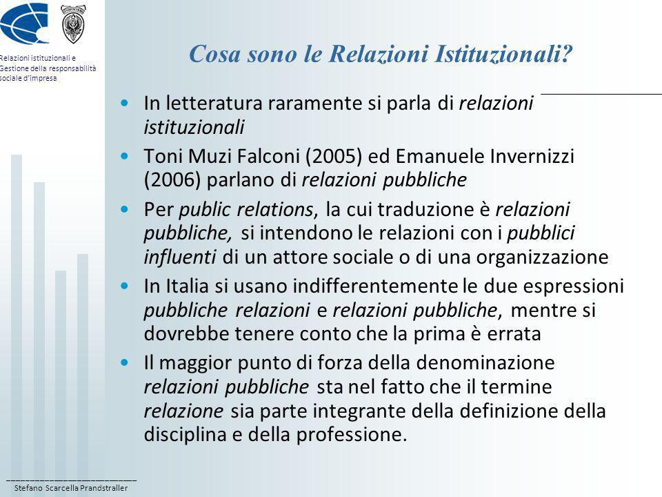 ____________________________ Stefano Scarcella Prandstraller Relazioni istituzionali e Gestione della responsabilità sociale dimpresa Il libro di testo di Responsabilità sociale dImpresa Teorie e tecniche della Responsabilità Sociale dImpresa, a cura di Stefano Scarcella Prandstraller, con contributi di Stefano Scarcella Prandstraller, Biagio Caino, Valentina Cillo, Ferruccio Di Paolo, Tiziana Landi, Maria Teresa Locuoco, Di Virgilio, Roma 2013.