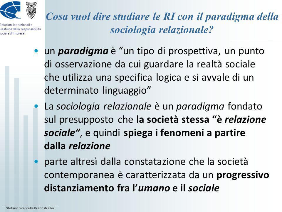 ____________________________ Stefano Scarcella Prandstraller Relazioni istituzionali e Gestione della responsabilità sociale dimpresa Cosa vuol dire s