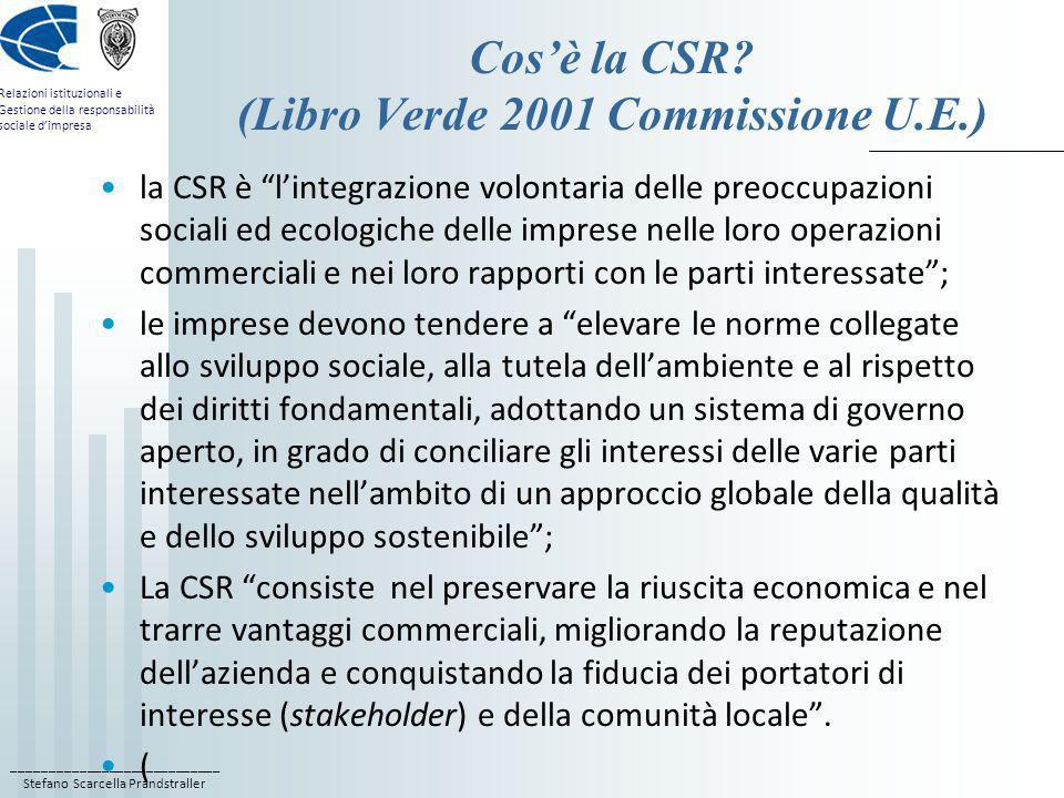 ____________________________ Stefano Scarcella Prandstraller Relazioni istituzionali e Gestione della responsabilità sociale dimpresa Cosè la CSR? (Li