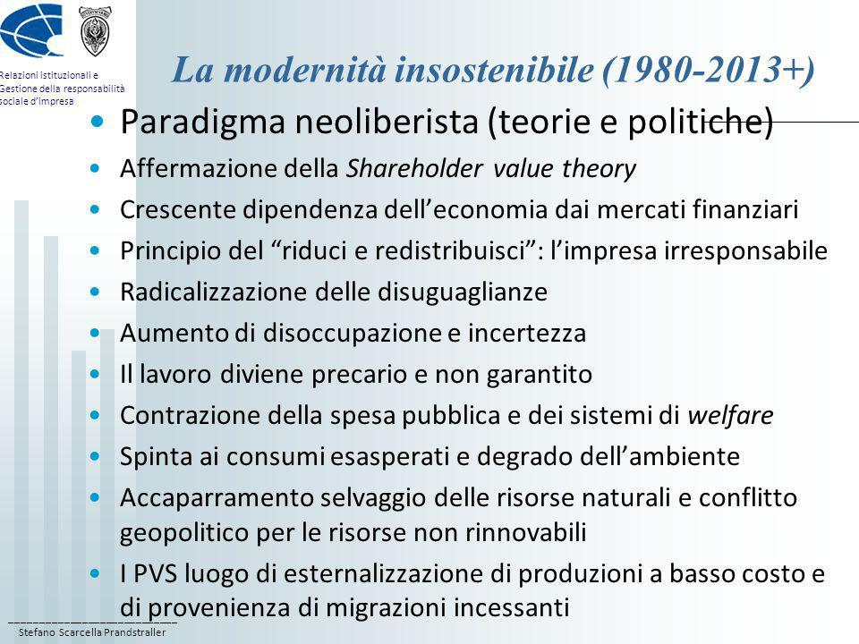 ____________________________ Stefano Scarcella Prandstraller Relazioni istituzionali e Gestione della responsabilità sociale dimpresa La modernità ins
