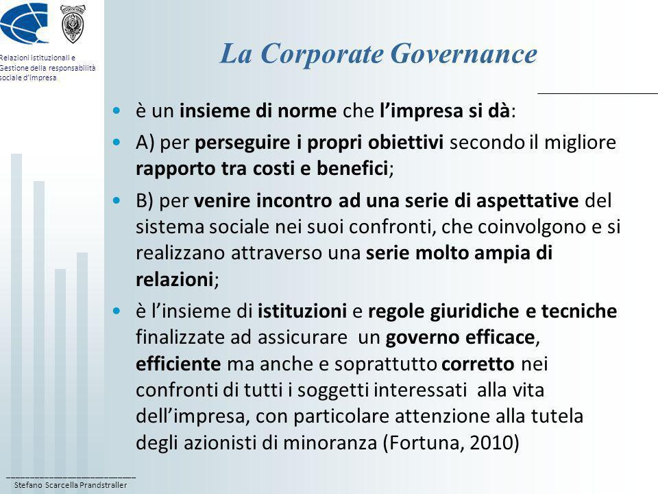 ____________________________ Stefano Scarcella Prandstraller Relazioni istituzionali e Gestione della responsabilità sociale dimpresa La Corporate Gov