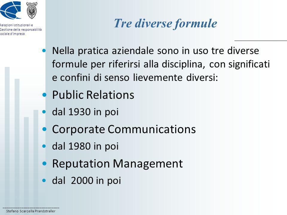 ____________________________ Stefano Scarcella Prandstraller Relazioni istituzionali e Gestione della responsabilità sociale dimpresa Tre diverse form