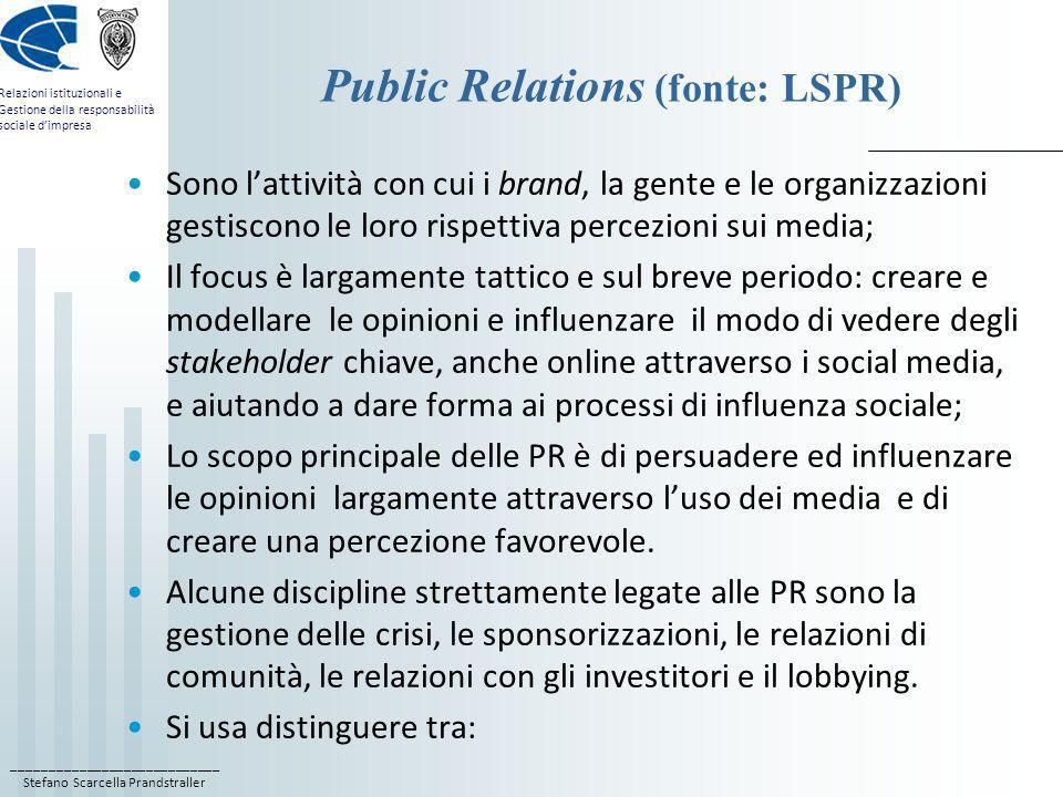 ____________________________ Stefano Scarcella Prandstraller Relazioni istituzionali e Gestione della responsabilità sociale dimpresa Perché chiamare le PR Relazioni Istituzionali.