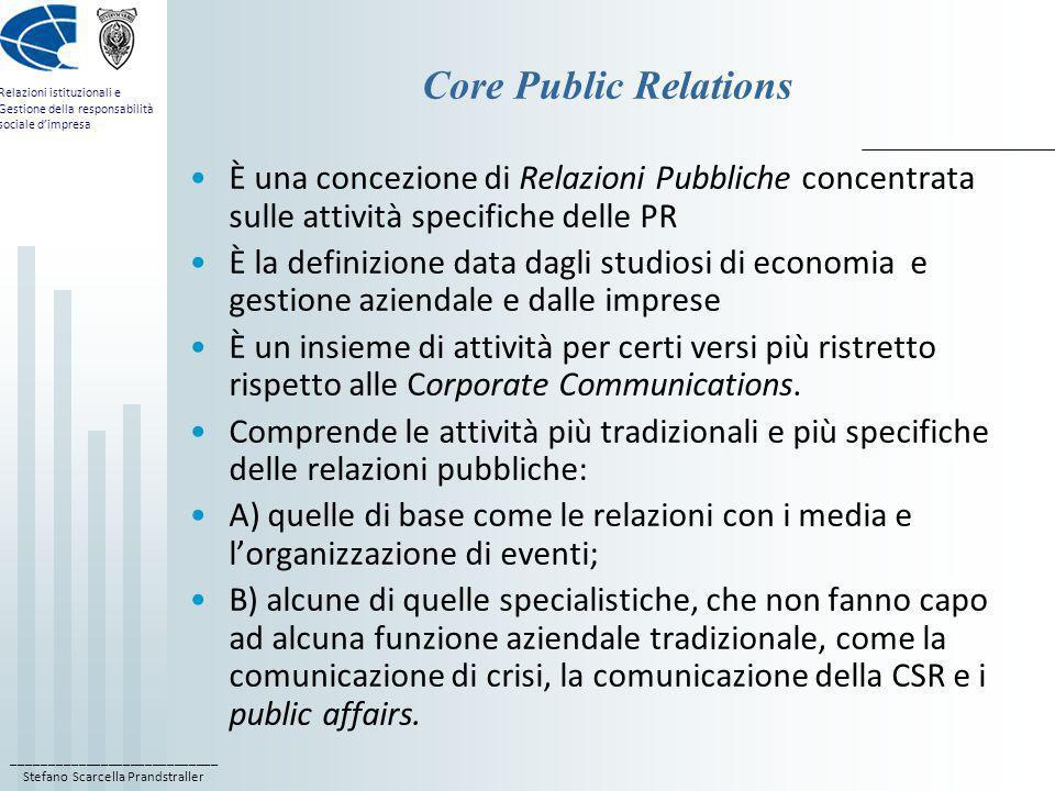 ____________________________ Stefano Scarcella Prandstraller Relazioni istituzionali e Gestione della responsabilità sociale dimpresa Extended Public Relations È una concezione di Relazioni Pubbliche allargata, comprensiva di tutte le attività di relazioni e di comunicazione dellimpresa coincide grosso modo con larea delle Corporate Communications È propria degli studiosi di relazioni pubbliche, delle associazioni di categoria e degli stessi professionisti comprende, oltre alle core PR, tutte le altre attività di comunicazione dimpresa, che fanno capo a funzioni aziendali tradizionali, come la comunicazione di marketing, la comunicazione economico-finanziaria e la comunicazione interna.