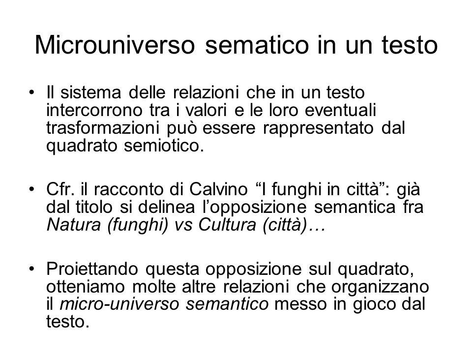 Microuniverso sematico in un testo Il sistema delle relazioni che in un testo intercorrono tra i valori e le loro eventuali trasformazioni può essere
