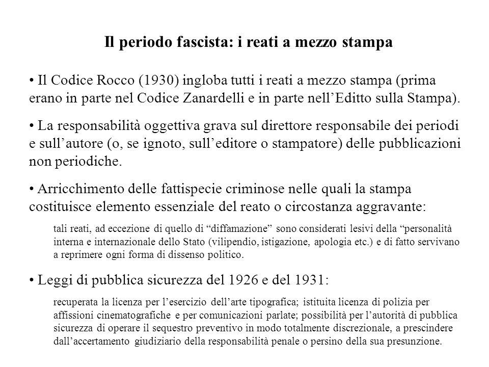 Il periodo fascista: i reati a mezzo stampa Il Codice Rocco (1930) ingloba tutti i reati a mezzo stampa (prima erano in parte nel Codice Zanardelli e in parte nellEditto sulla Stampa).
