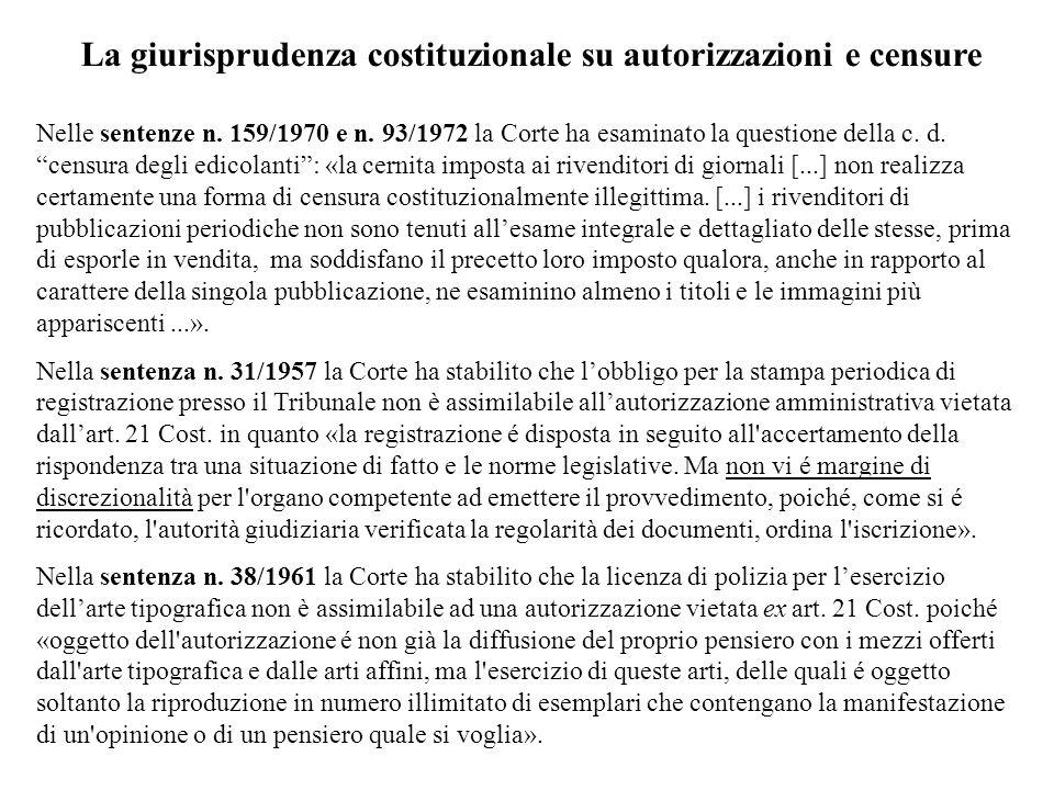 La giurisprudenza costituzionale su autorizzazioni e censure Nelle sentenze n. 159/1970 e n. 93/1972 la Corte ha esaminato la questione della c. d. ce