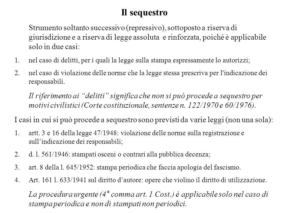 Il sequestro Strumento soltanto successivo (repressivo), sottoposto a riserva di giurisdizione e a riserva di legge assoluta e rinforzata, poiché è ap