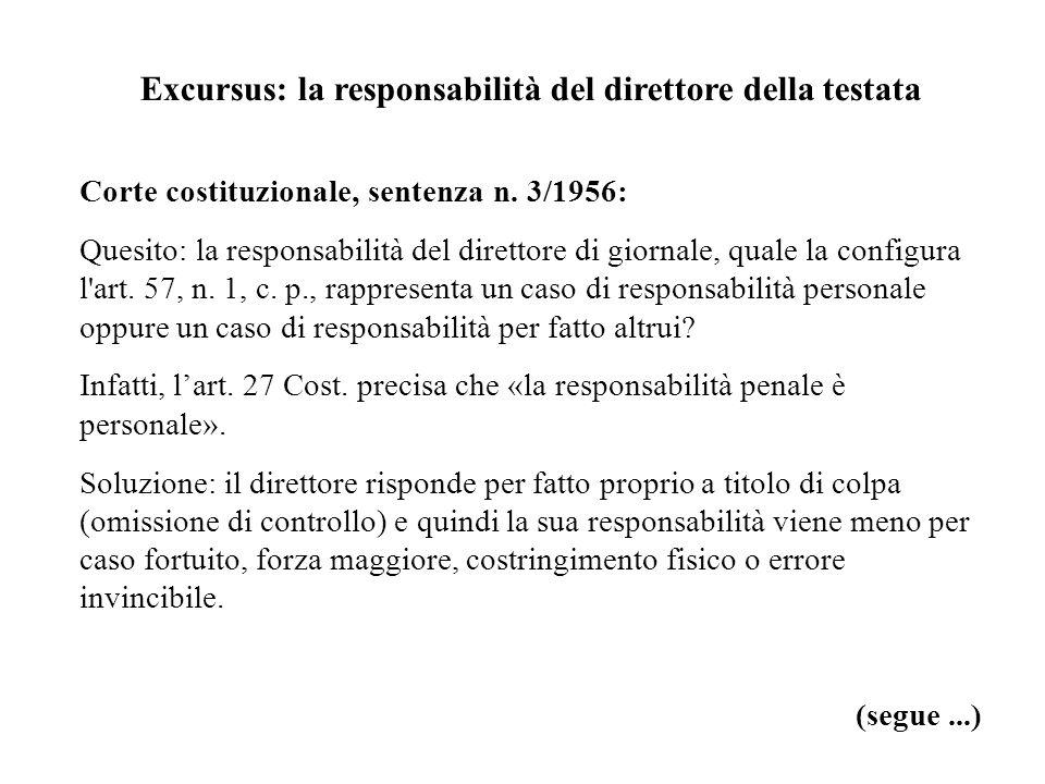Excursus: la responsabilità del direttore della testata Corte costituzionale, sentenza n. 3/1956: Quesito: la responsabilità del direttore di giornale