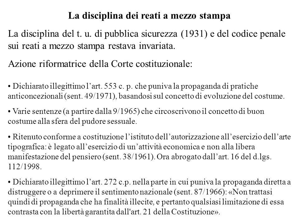La disciplina dei reati a mezzo stampa La disciplina del t. u. di pubblica sicurezza (1931) e del codice penale sui reati a mezzo stampa restava invar