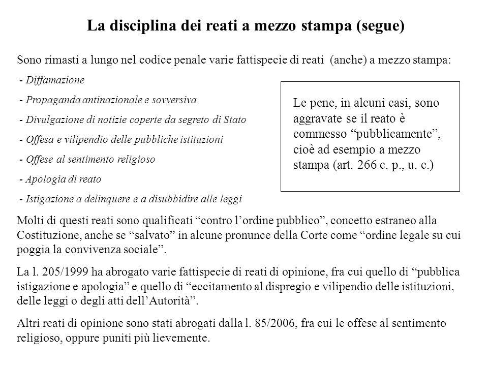 La disciplina dei reati a mezzo stampa (segue) Sono rimasti a lungo nel codice penale varie fattispecie di reati (anche) a mezzo stampa: - Diffamazion