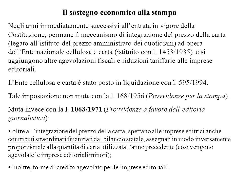 Negli anni immediatamente successivi allentrata in vigore della Costituzione, permane il meccanismo di integrazione del prezzo della carta (legato all