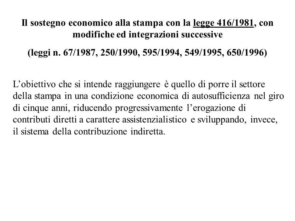 Il sostegno economico alla stampa con la legge 416/1981, con modifiche ed integrazioni successive (leggi n. 67/1987, 250/1990, 595/1994, 549/1995, 650