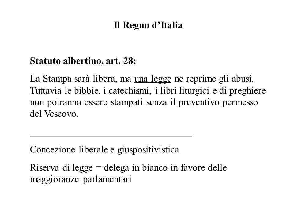 Il Regno dItalia Statuto albertino, art.