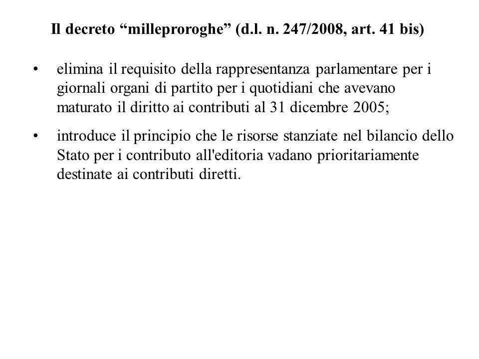 Il decreto milleproroghe (d.l. n. 247/2008, art. 41 bis) elimina il requisito della rappresentanza parlamentare per i giornali organi di partito per i