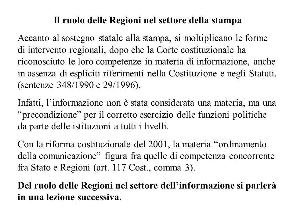 Il ruolo delle Regioni nel settore della stampa Accanto al sostegno statale alla stampa, si moltiplicano le forme di intervento regionali, dopo che la