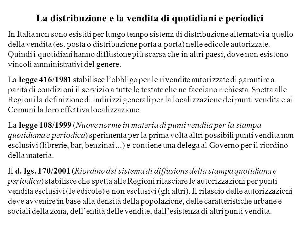 La distribuzione e la vendita di quotidiani e periodici In Italia non sono esistiti per lungo tempo sistemi di distribuzione alternativi a quello della vendita (es.