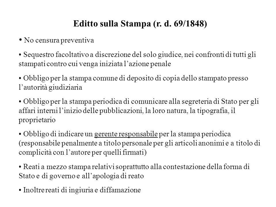 Editto sulla Stampa (r. d. 69/1848) No censura preventiva Sequestro facoltativo a discrezione del solo giudice, nei confronti di tutti gli stampati co