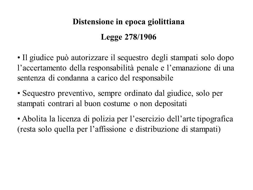 Distensione in epoca giolittiana Legge 278/1906 Il giudice può autorizzare il sequestro degli stampati solo dopo laccertamento della responsabilità pe