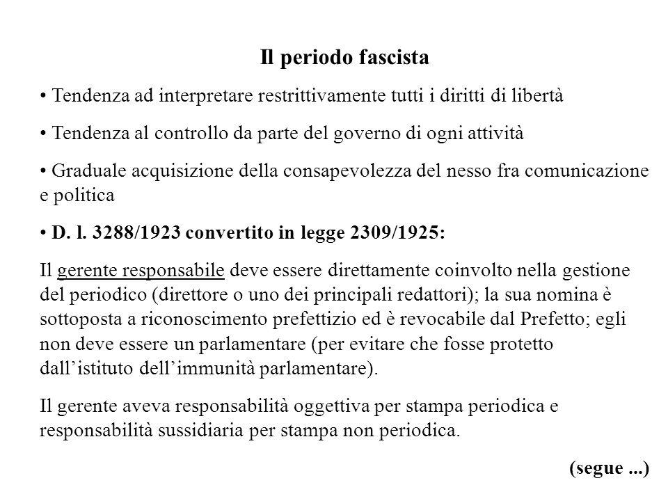 Il periodo fascista Tendenza ad interpretare restrittivamente tutti i diritti di libertà Tendenza al controllo da parte del governo di ogni attività Graduale acquisizione della consapevolezza del nesso fra comunicazione e politica D.