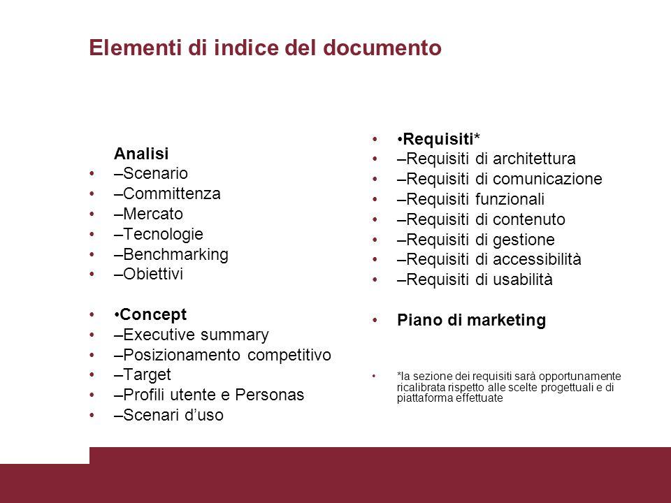 Elementi di indice del documento Analisi –Scenario –Committenza –Mercato –Tecnologie –Benchmarking –Obiettivi Concept –Executive summary –Posizionamen