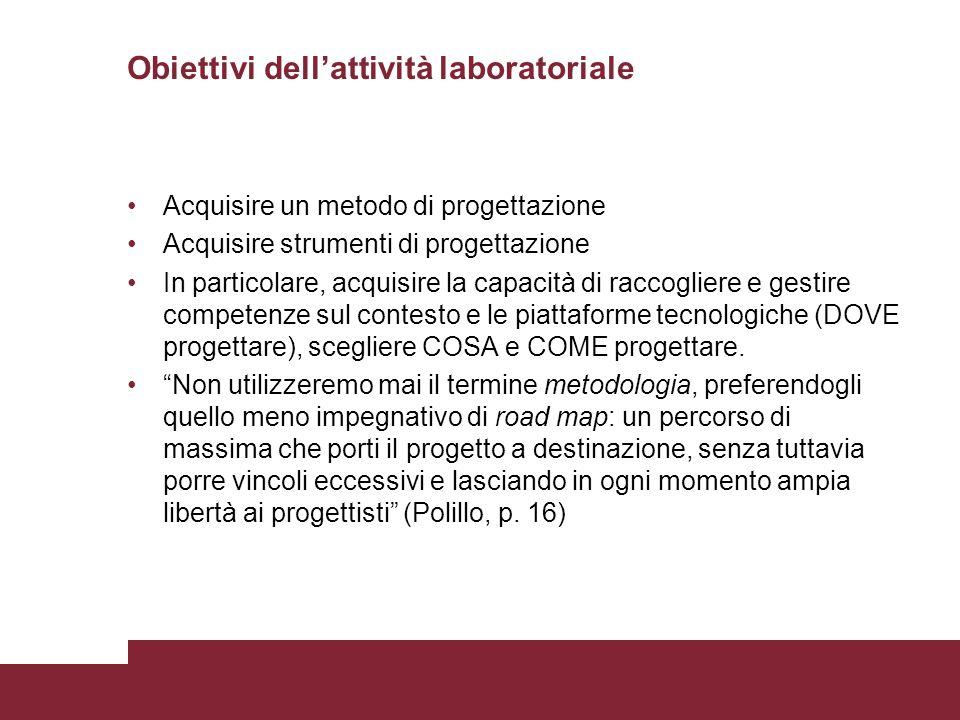 Obiettivi dellattività laboratoriale Acquisire un metodo di progettazione Acquisire strumenti di progettazione In particolare, acquisire la capacità d