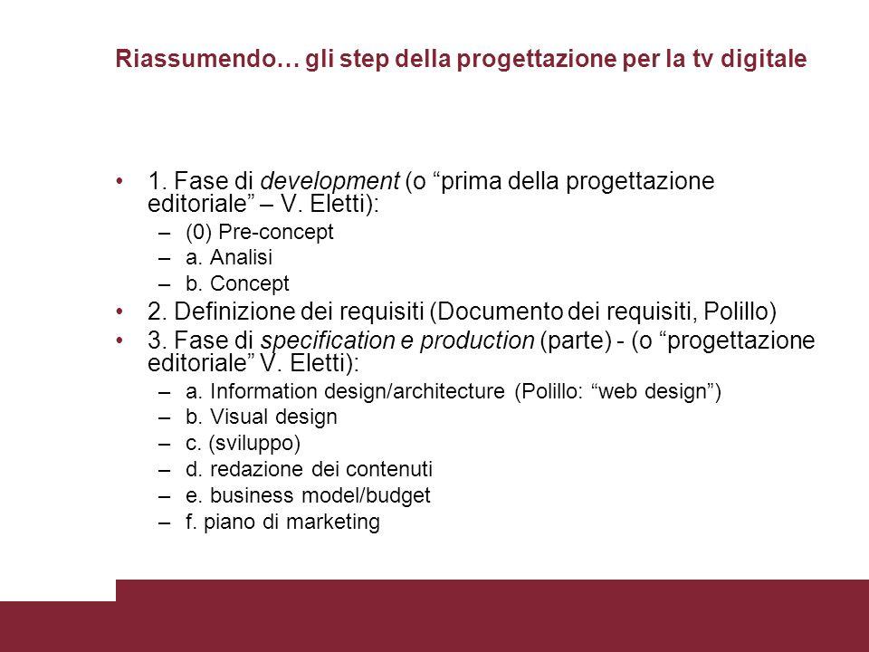 Riassumendo… gli step della progettazione per la tv digitale 1. Fase di development (o prima della progettazione editoriale – V. Eletti): –(0) Pre-con