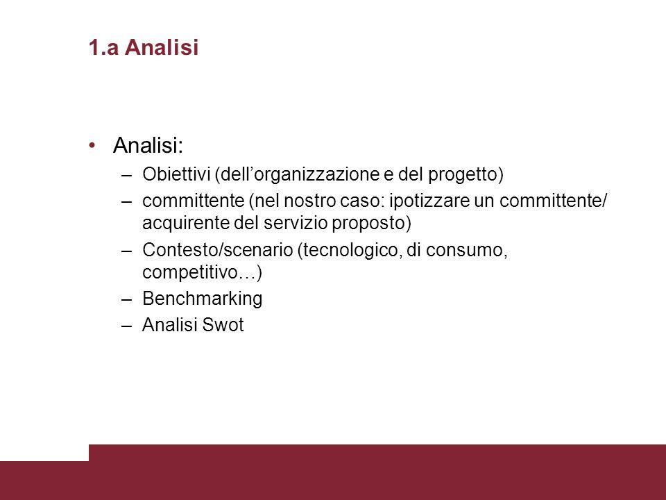 1.a Analisi Analisi: –Obiettivi (dellorganizzazione e del progetto) –committente (nel nostro caso: ipotizzare un committente/ acquirente del servizio
