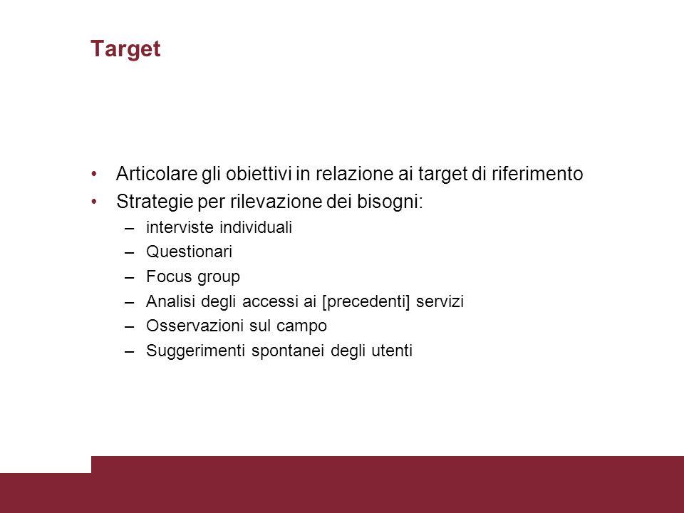 Target Articolare gli obiettivi in relazione ai target di riferimento Strategie per rilevazione dei bisogni: –interviste individuali –Questionari –Foc
