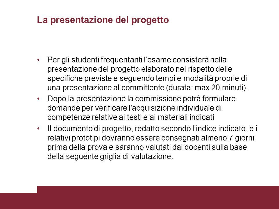 La presentazione del progetto Per gli studenti frequentanti lesame consisterà nella presentazione del progetto elaborato nel rispetto delle specifiche