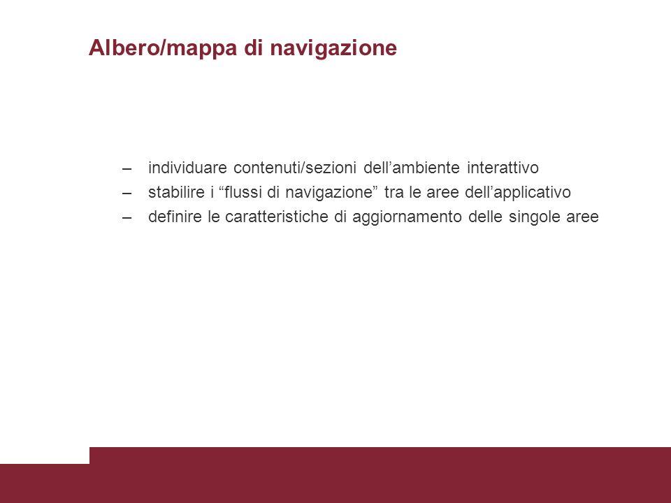 Albero/mappa di navigazione – individuare contenuti/sezioni dellambiente interattivo – stabilire i flussi di navigazione tra le aree dellapplicativo –
