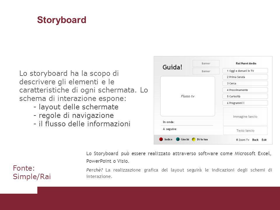 Storyboard Lo Storyboard può essere realizzato attraverso software come Microsoft Excel, PowerPoint o Visio. Perchè? La realizzazione grafica del layo