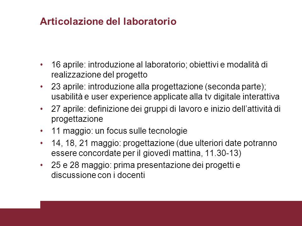 Articolazione del laboratorio 16 aprile: introduzione al laboratorio; obiettivi e modalità di realizzazione del progetto 23 aprile: introduzione alla