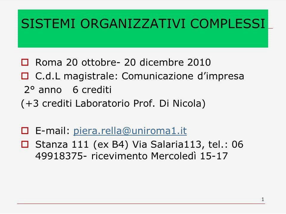 1 SISTEMI ORGANIZZATIVI COMPLESSI Roma 20 ottobre- 20 dicembre 2010 C.d.L magistrale: Comunicazione dimpresa 2° anno 6 crediti (+3 crediti Laboratorio Prof.