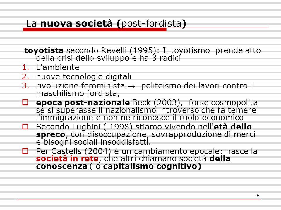 8 La nuova società (post-fordista) toyotista secondo Revelli (1995): Il toyotismo prende atto della crisi dello sviluppo e ha 3 radici 1.L'ambiente 2.