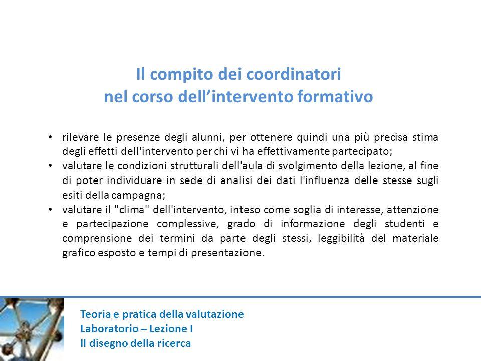 Teoria e pratica della valutazione Laboratorio – Lezione I Il disegno della ricerca Il compito dei coordinatori nel corso dellintervento formativo ril