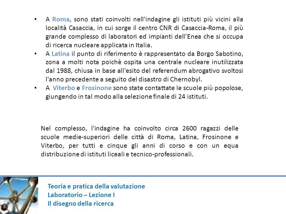 Teoria e pratica della valutazione Laboratorio – Lezione I Il disegno della ricerca A Roma, sono stati coinvolti nell'indagine gli istituti più vicini