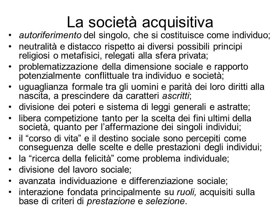 La società acquisitiva autoriferimento del singolo, che si costituisce come individuo; neutralità e distacco rispetto ai diversi possibili principi re