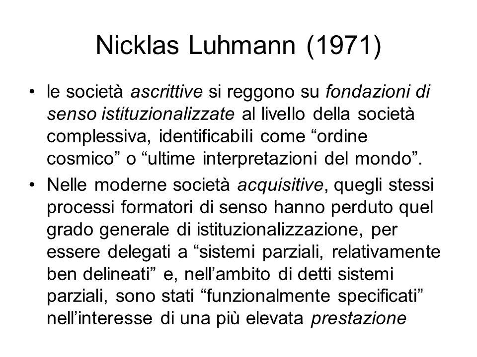 Nicklas Luhmann (1971) le società ascrittive si reggono su fondazioni di senso istituzionalizzate al livello della società complessiva, identificabili