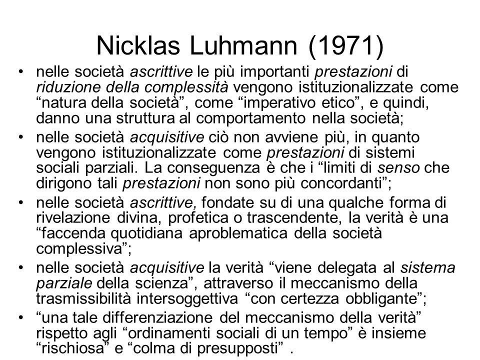 Nicklas Luhmann (1971) nelle società ascrittive le più importanti prestazioni di riduzione della complessità vengono istituzionalizzate come natura de