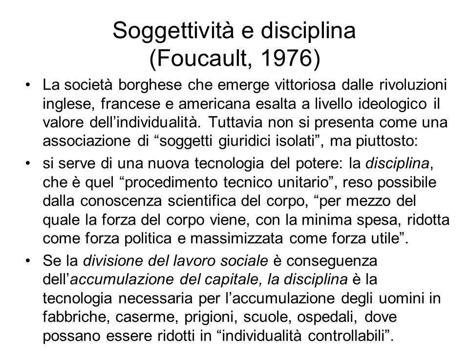 Soggettività e disciplina (Foucault, 1976) La società borghese che emerge vittoriosa dalle rivoluzioni inglese, francese e americana esalta a livello