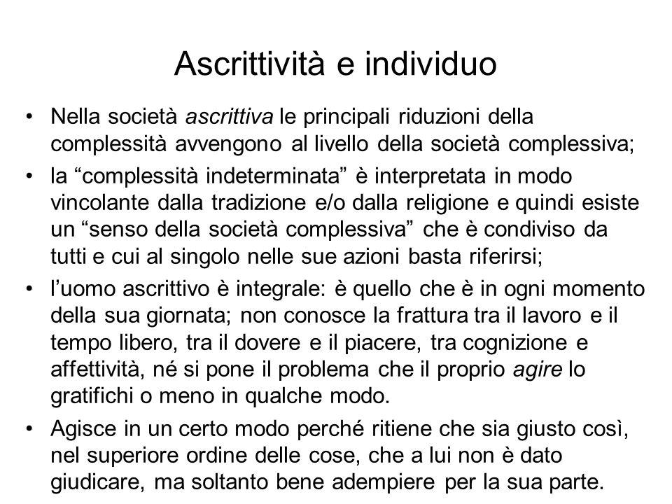 Ascrittività e individuo Nella società ascrittiva le principali riduzioni della complessità avvengono al livello della società complessiva; la comples