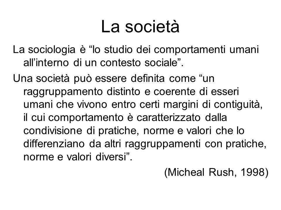 La società La sociologia è lo studio dei comportamenti umani allinterno di un contesto sociale. Una società può essere definita come un raggruppamento